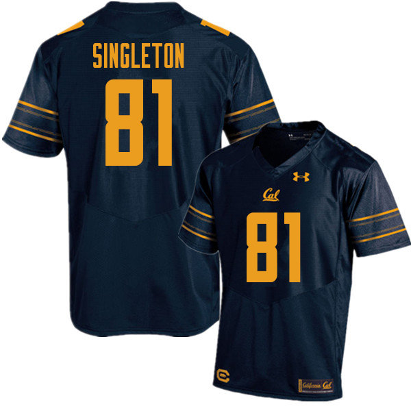 Men #81 Brandon Singleton Cal Bears UA College Football Jerseys Sale-Navy