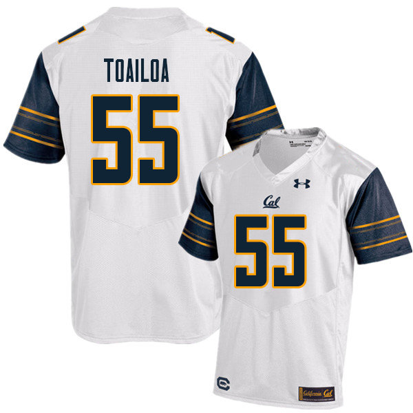 Men #55 Lone Toailoa Cal Bears UA College Football Jerseys Sale-White
