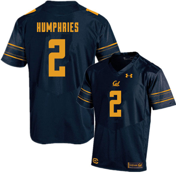 Men #2 Isaiah Humphries Cal Bears College Football Jerseys Sale-Navy
