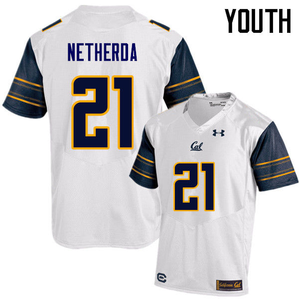 Youth #21 Alex Netherda Cal Bears (California Golden Bears College) Football Jerseys Sale-White
