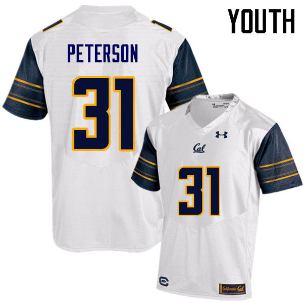 Youth #31 Chas Peterson Cal Bears (California Golden Bears College) Football Jerseys Sale-White