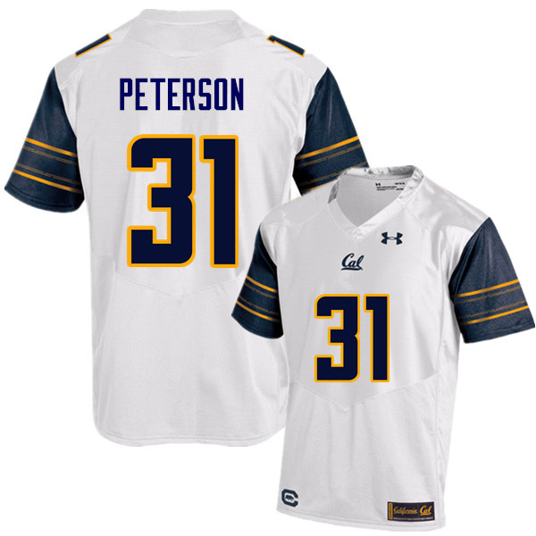 Men #31 Chas Peterson Cal Bears (California Golden Bears College) Football Jerseys Sale-White