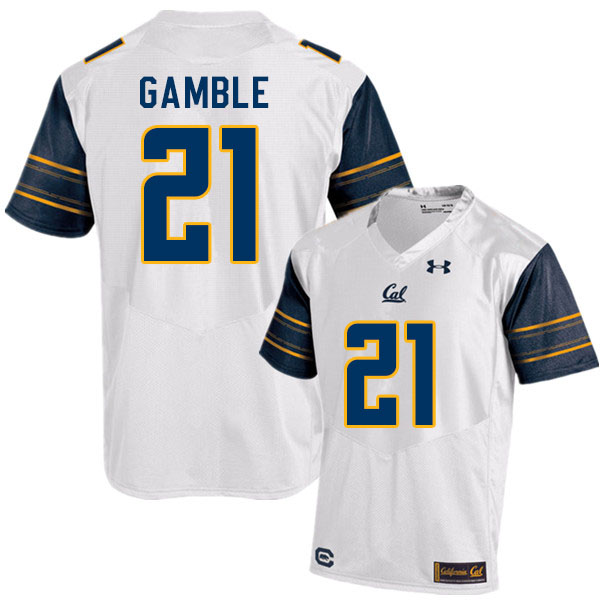 Men #21 Collin Gamble Cal Bears College Football Jerseys Sale-White