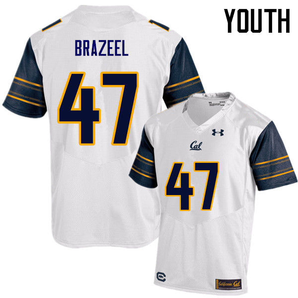 Youth #47 Connor Brazeel Cal Bears (California Golden Bears College) Football Jerseys Sale-White