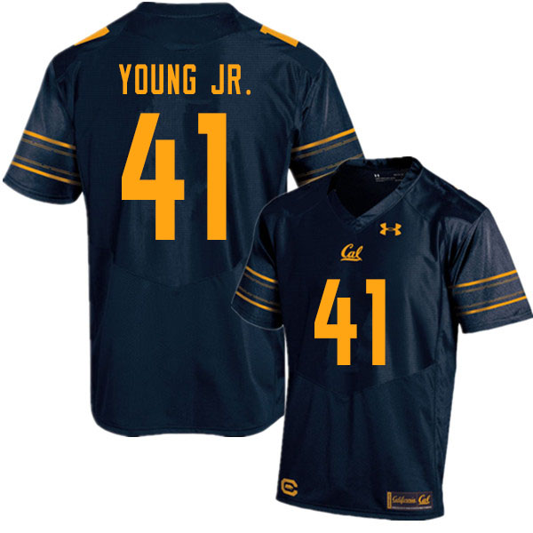 Men #41 Curley Young Jr. Cal Bears UA College Football Jerseys Sale-Navy
