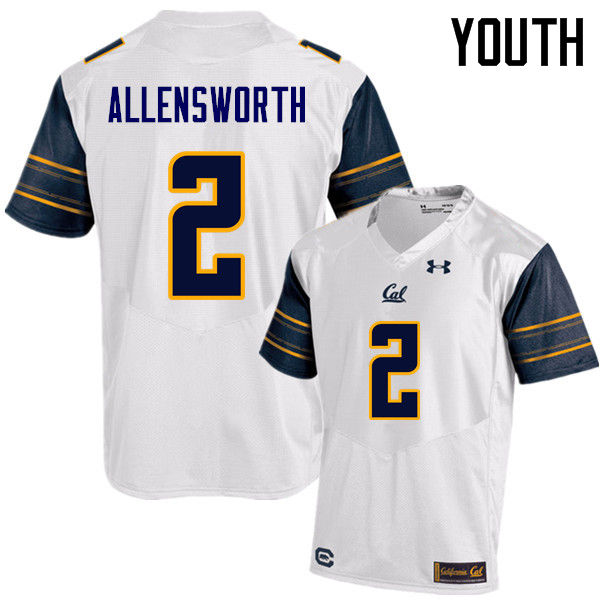 Youth #2 Darius Allensworth Cal Bears (California Golden Bears College) Football Jerseys Sale-White