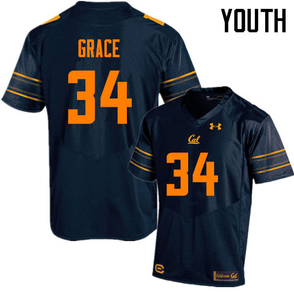 Youth #34 De'Zhon Grace Cal Bears (California Golden Bears College) Football Jerseys Sale-Navy