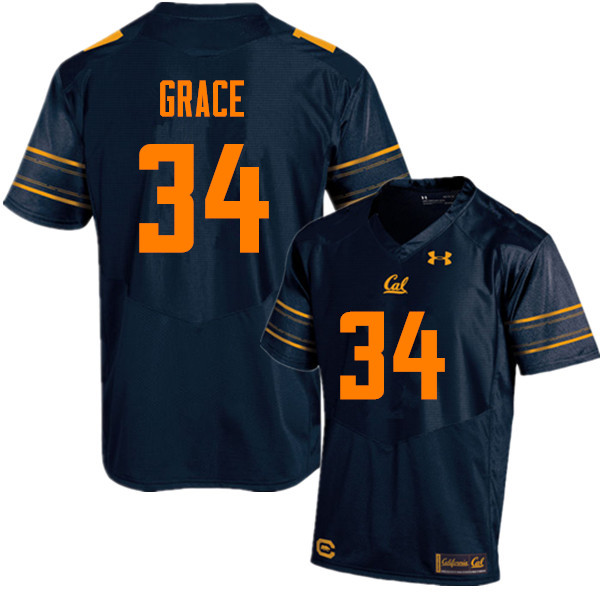 Men #34 De'Zhon Grace Cal Bears (California Golden Bears College) Football Jerseys Sale-Navy
