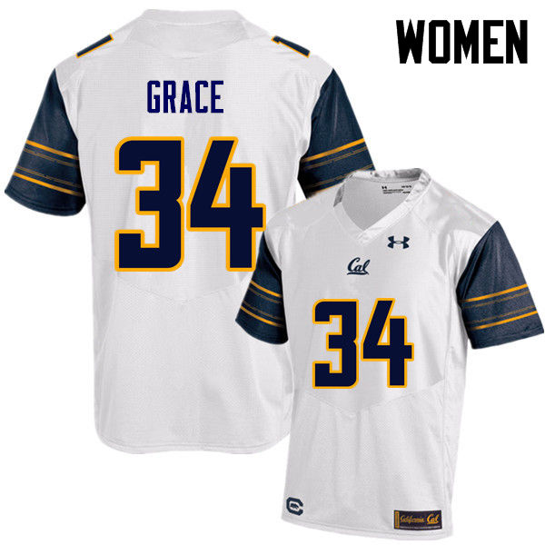 Women #34 De'Zhon Grace Cal Bears (California Golden Bears College) Football Jerseys Sale-White
