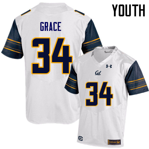 Youth #34 De'Zhon Grace Cal Bears (California Golden Bears College) Football Jerseys Sale-White