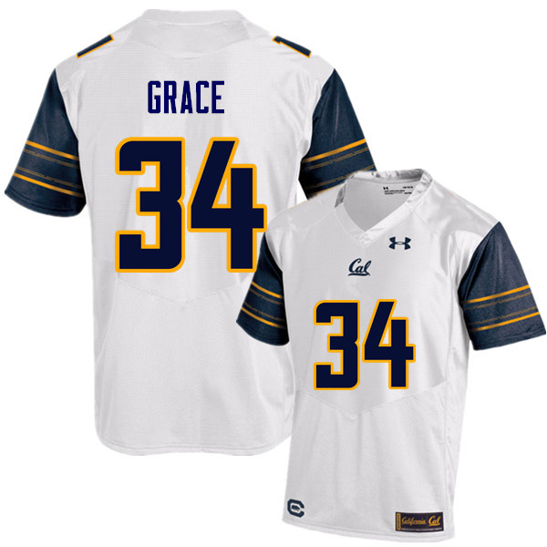 Men #34 De'Zhon Grace Cal Bears (California Golden Bears College) Football Jerseys Sale-White
