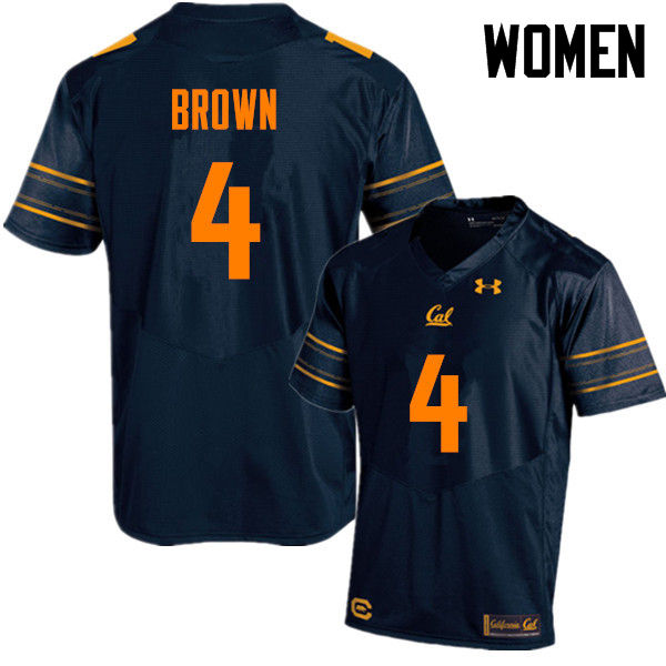 Women #4 Derron Brown Cal Bears (California Golden Bears College) Football Jerseys Sale-Navy