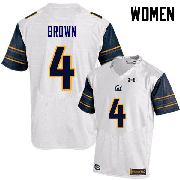 Women #4 Derron Brown Cal Bears (California Golden Bears College) Football Jerseys Sale-White