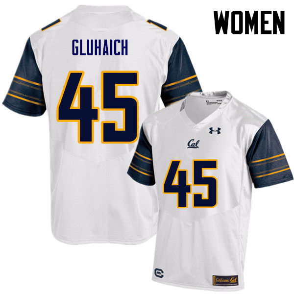 Women #45 Grant Gluhaich Cal Bears (California Golden Bears College) Football Jerseys Sale-White