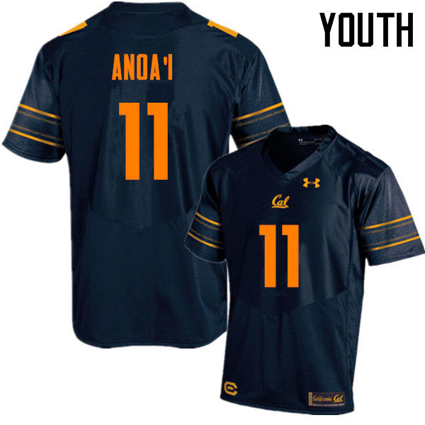 Youth #11 Hamilton Anoa'i Cal Bears (California Golden Bears College) Football Jerseys Sale-Navy