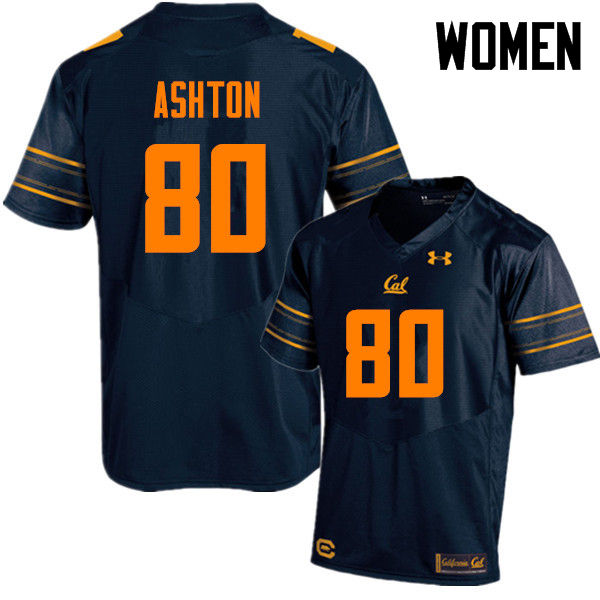 Women #80 Jake Ashton Cal Bears (California Golden Bears College) Football Jerseys Sale-Navy