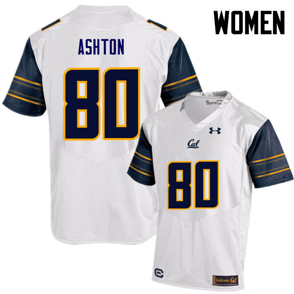 Women #80 Jake Ashton Cal Bears (California Golden Bears College) Football Jerseys Sale-White