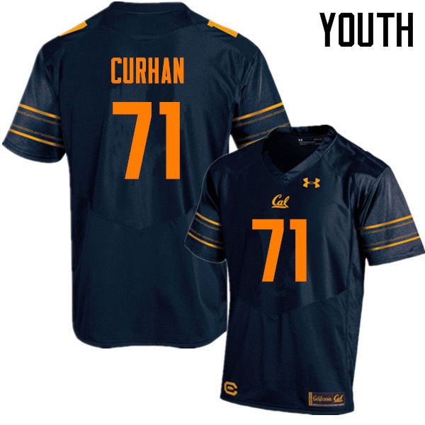 Youth #71 Jake Curhan Cal Bears (California Golden Bears College) Football Jerseys Sale-Navy
