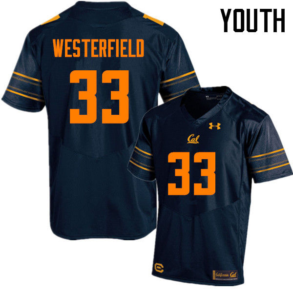 Youth #33 Noah Westerfield Cal Bears (California Golden Bears College) Football Jerseys Sale-Navy