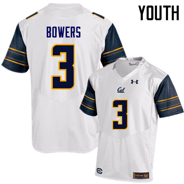 Youth #3 Ross Bowers Cal Bears (California Golden Bears College) Football Jerseys Sale-White