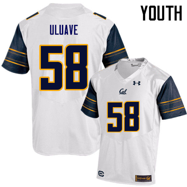 Youth #58 Semisi Uluave Cal Bears (California Golden Bears College) Football Jerseys Sale-White