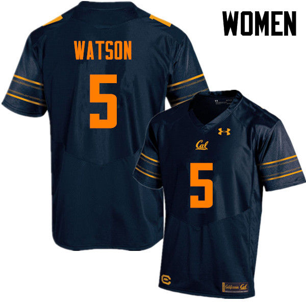 Women #5 Tre Watson Cal Bears (California Golden Bears College) Football Jerseys Sale-Navy