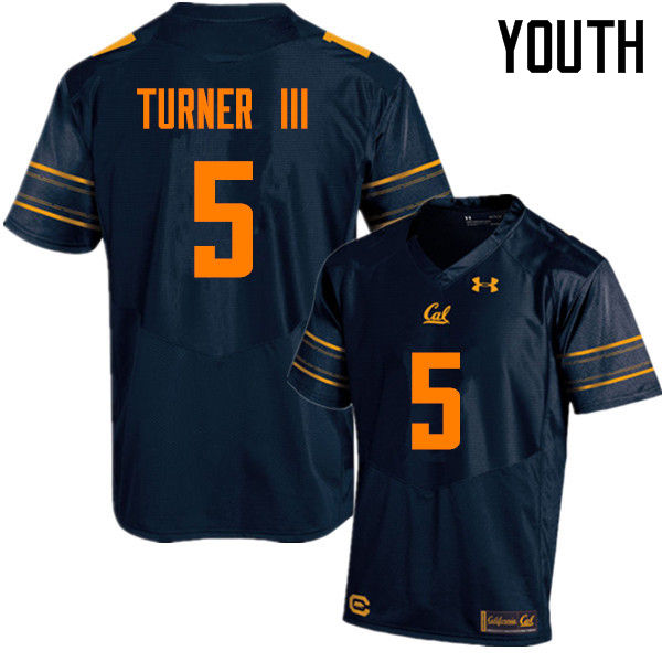 Youth #5 Trey Turner III Cal Bears (California Golden Bears College) Football Jerseys Sale-Navy
