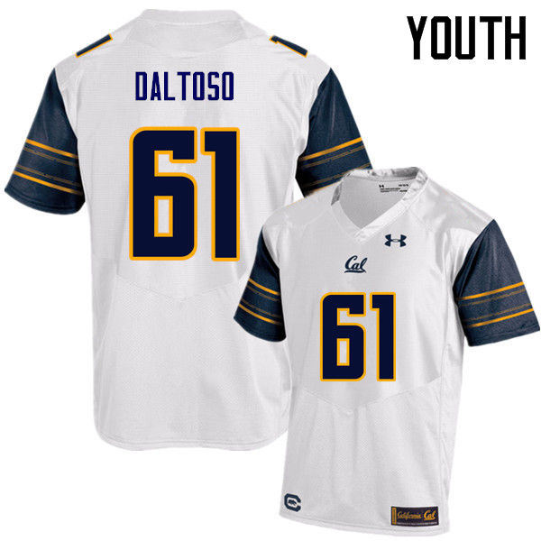 Youth #61 Valentino Daltoso Cal Bears (California Golden Bears College) Football Jerseys Sale-White