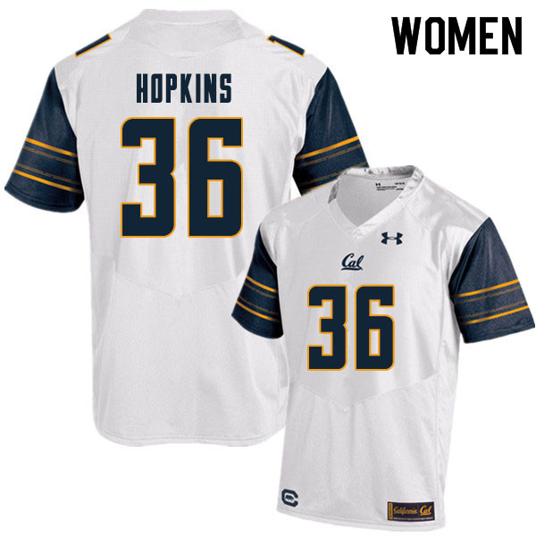 Women #36 D'Shawn Hopkins Cal Bears College Football Jerseys Sale-White