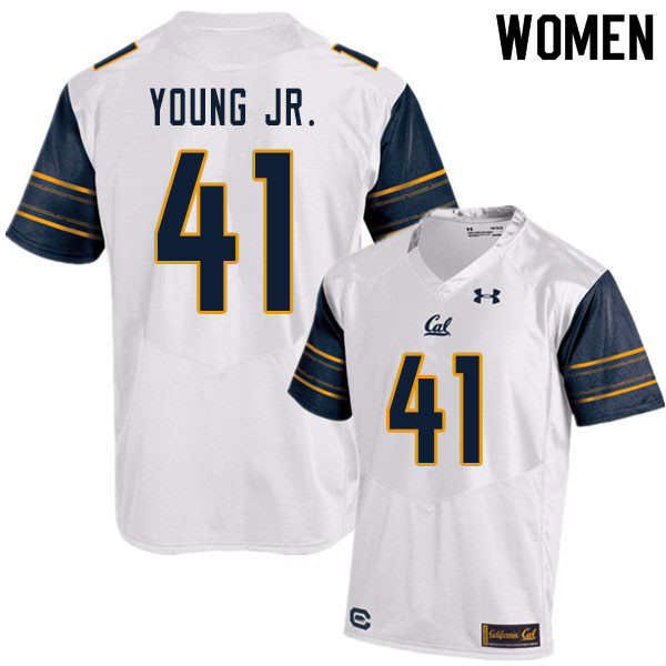 Women #41 Curley Young Jr. Cal Bears UA College Football Jerseys Sale-White
