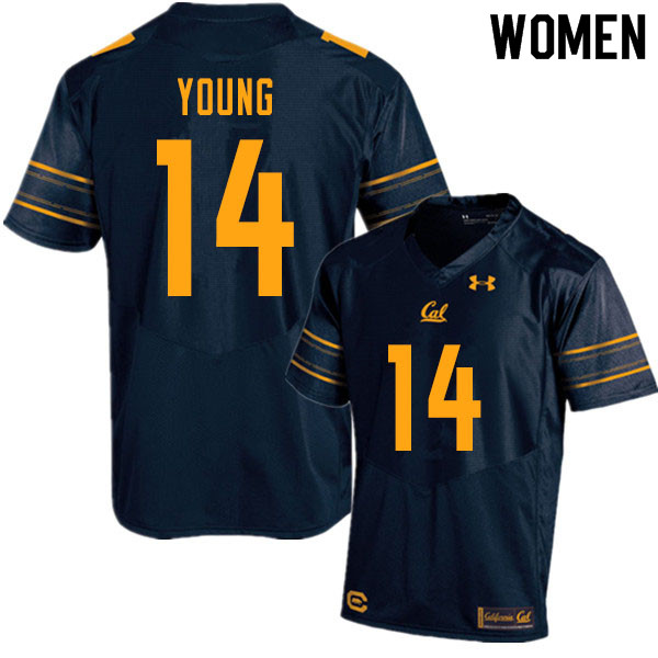 Women #14 Monroe Young Cal Bears UA College Football Jerseys Sale-Navy