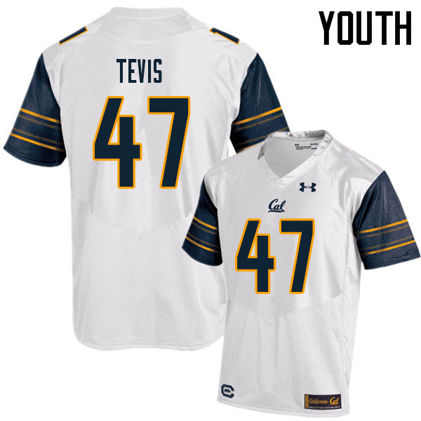 Youth #47 JH Tevis Cal Bears UA College Football Jerseys Sale-White