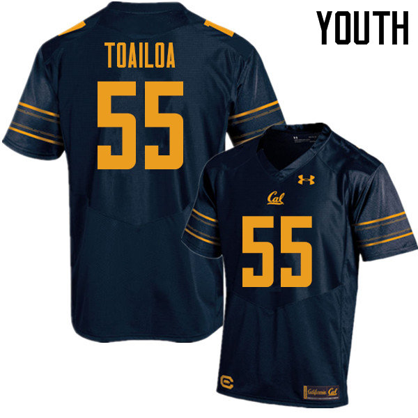 Youth #55 Lone Toailoa Cal Bears UA College Football Jerseys Sale-Navy