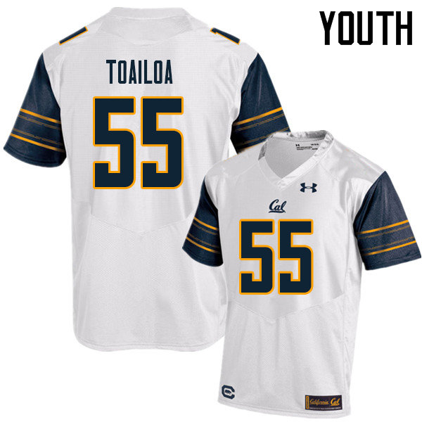 Youth #55 Lone Toailoa Cal Bears UA College Football Jerseys Sale-White