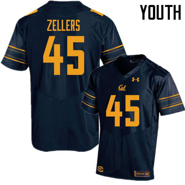 Youth #45 Slater Zellers Cal Bears UA College Football Jerseys Sale-Navy
