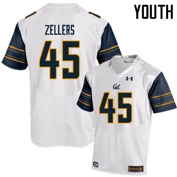 Youth #45 Slater Zellers Cal Bears UA College Football Jerseys Sale-White