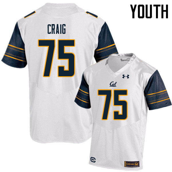 Youth #75 Will Craig Cal Bears UA College Football Jerseys Sale-White