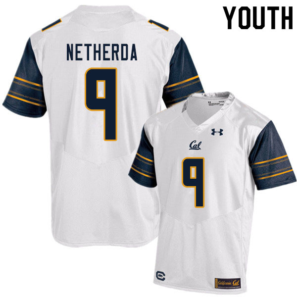 Youth #9 Alex Netherda Cal Bears UA College Football Jerseys Sale-White