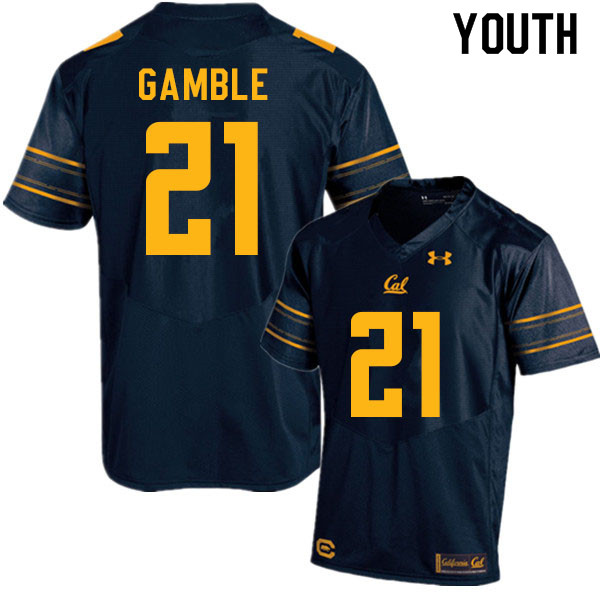 Youth #21 Collin Gamble Cal Bears College Football Jerseys Sale-Navy