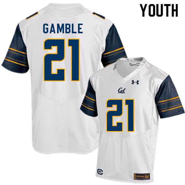 Youth #21 Collin Gamble Cal Bears College Football Jerseys Sale-White