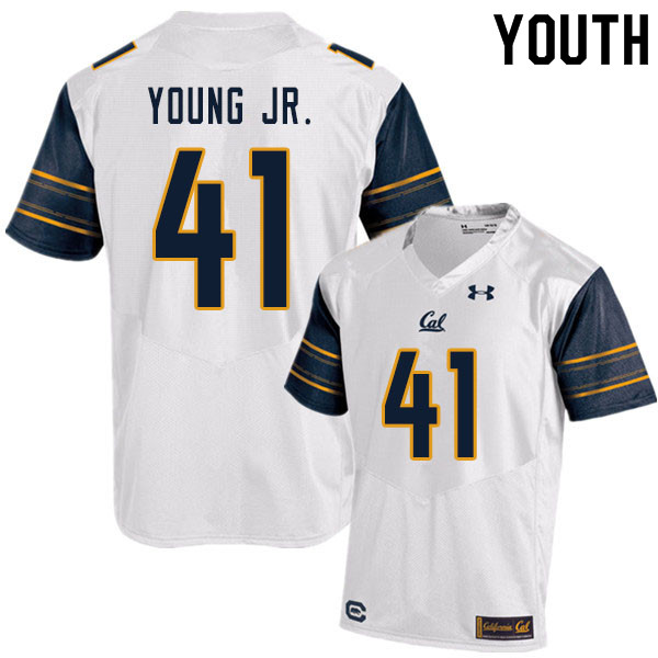 Youth #41 Curley Young Jr. Cal Bears UA College Football Jerseys Sale-White