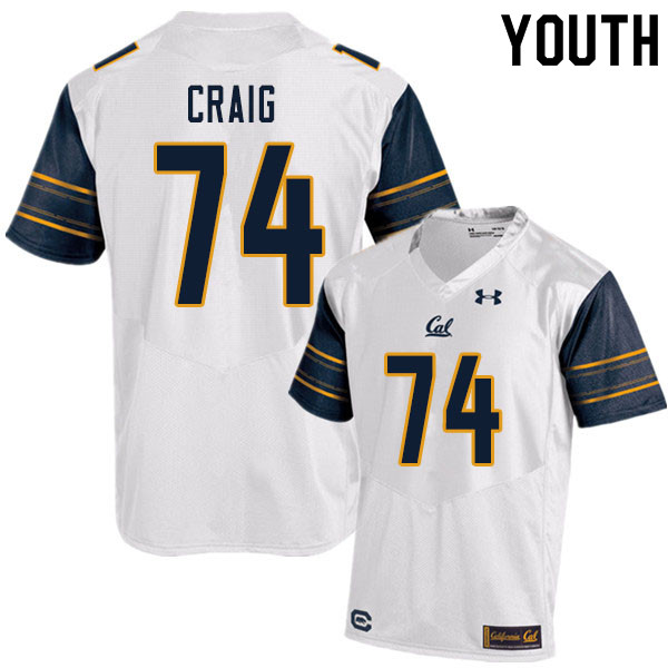 Youth #74 Will Craig Cal Bears UA College Football Jerseys Sale-White