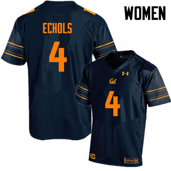 Women #4 Zion Echols Cal Bears (California Golden Bears College) Football Jerseys Sale-Navy